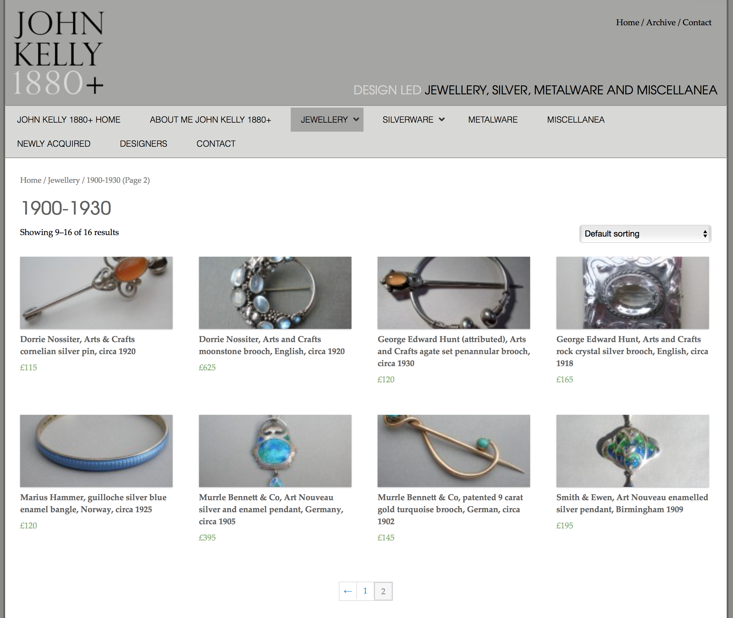 John Kelly's website page showing pieces by Dorrie