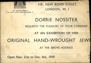 Invitation card to an exhibition at 118 New Bond Street, Mayfair, London.