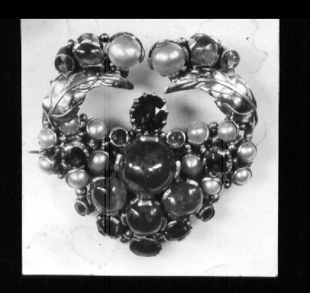 Brooch black and white photograph