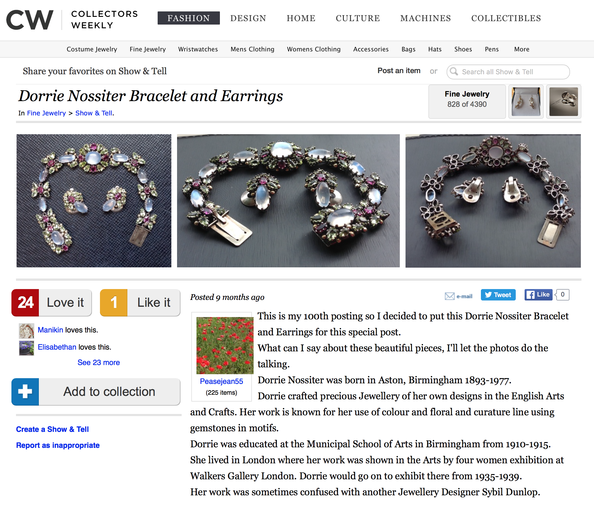 Screen capture of website discussing Dorrie's jewellery
